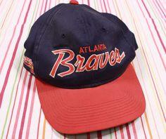Sport Specialties Atlanta Braves Script Baseball Cap Snapback Hat Navy The Twill #SportsSpecialties #Snapback