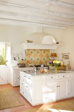 Spanish Tile Backsplash: Yellow and Cream, White Cabients