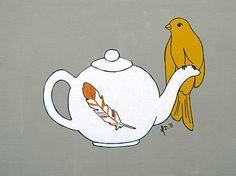 Bird Painting Art Print Teapot Perch Modern urban by mdcreated, $15.00