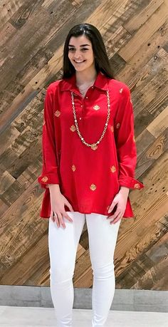 7f270ec13c18d5 The Harper Embroidered Tunic in Poppy and Gold - Liza Byrd Boutique  Embroidered Tunic, Red