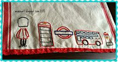 weasinart: Stitching Up a Happy New Year: Embellished Tea Towels Embroidery Fabric, Fabric Art, Cross Stitch Embroidery, Embroidery Patterns, Wild Olive, Stitch Witchery, Union Jack, Tea Towels, Criss Cross