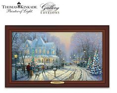 """Thomas Kinkade """"A Holiday Gathering"""", celebrants gather in quiet groups on porches to visit, gossip, perhaps sing a round of favorite Christmas carols. The welcoming light from village homes and Christmas trees spills into the street, inviting one and all to join in the gathering. Now the Gallery Editions Thomas … Continue reading"""