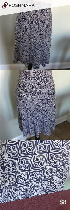 Ann Taylor Loft Spring Skirt Ann Taylor Loft Skirt,Sz L.Navy and white.Good condition.Soft and flowing. Skirts