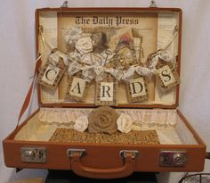Vintage Suitcase Wedding Card Box Flower by TheShabbyChicWedding, $155.00