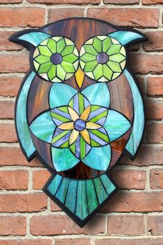 Learn the art of Stained Glass Mosaics! Sign up for the Online Class via www.kasiamosaicsclasses.com Student Work from a Kasia Mosaics Stained Glass Mosaic Owl Workshop - Mosaic Owl by Michelle.