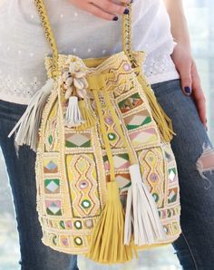 Snazzy Amita Bag in yellow Gypsy Style, Boho Style, Out Of Style, Bucket Bag, Boho Fashion, Going Out, Latest Trends, Yellow Shop, Artisan