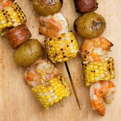 Shrimp, corn, sausage and potatoes with a Old Bay seasoning is the ideal summer feast