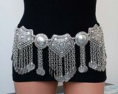 Silver plated metal belt with coin, bellydance belt