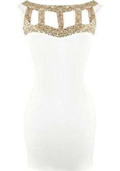 Gladiator Armor Dress: Features a glittering gold gladiator decolletage with chic cutouts for subtle exposure, illusion sweetheart neckline, deep scoop design to the rear, and a sexy body-conscious silhouette to finish.