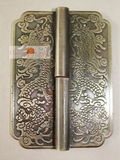 """4 Hingle Chinese Furniture Brass Hardware Trunk Cabinet Door Copper Dragon 3.15"""""""