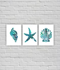 Ocean wall art Starfish Sea shells Watercolor by myfavoritedecor