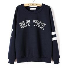 NEW YORK Print Loose Sweatshirt featuring polyvore fashion clothing tops hoodies sweatshirts navy long sleeve sweatshirt blue sweatshirt sweat shirts loose fitting tops sweater pullover