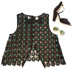 Free People Sequin Daisy Top Stunning Free People New Romantics top. Retailed for $108. Sequin flowers all over. Black and green hues. High neck, sleeveless and button up back. Sheer and perfect for layering. Size Small/P Free People Tops