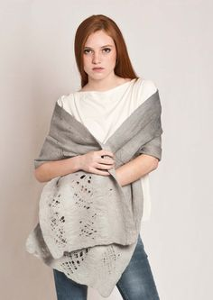 Autumn wool scarf #Grey $60.00 #Shawl #wool #felt #wrap #gray #scarf #merino #autumn #winter #grey #pashmina #bridal