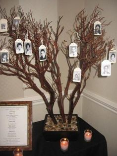 Class Reunion Memorial Tree with Tags Made From Yearbook Photos