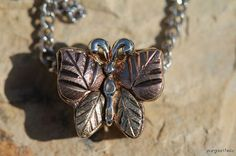 Previously Owned Sterling Silver & 12k Rose White and Yellow Gold Butterfly Necklace
