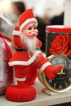 Vintage Fayre.  Vintage Father Christmas at Hay Does Vintage, Hay-on-Wye