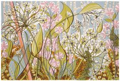 FREE UK Delivery A new screenprint entitled Ramsons and Campion by acclaimed modern British artist Angie Lewin. Hand-signed and numbered by the artist from an edition of 150 prints. Angie Lewin, Yorkshire Sculpture Park, Natural Line, Natural Forms, Wood Engraving, Graphic Illustration, Botanical Illustration, Botanical Art, Screen Printing