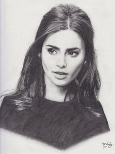 Lily Collins Realistic Drawing