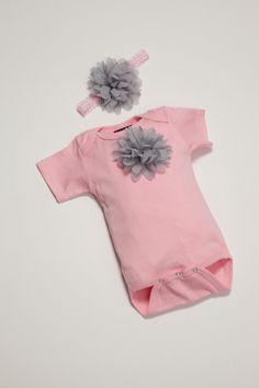 Baby Girl Onesie Set Short Sleeve Pink Onesie Set by jacqueline225, $20.00