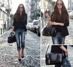 Sheinside Blazer, Persunmall Bag, Wow Vintage Sunglasses, Mango Heells, Diesel Jeans