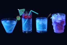 """How's this for unique Tiki Party Lights? Tonic water + a dark """"black"""" light bulb in any lamp fixture = GLOWING COCKTAILS. Happy hour indeed - bottoms up! Adult Halloween Party, Halloween Drinks, Halloween Treats, Halloween Foods, Halloween Birthday, Halloween Stuff, Tiki Party, Luau Party, Cocktail Drinks"""