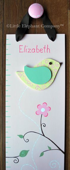 Elizabeth Birds Wooden Growth Chart, handpainted, FREE nail cover and personalization. $89.99, via Etsy.