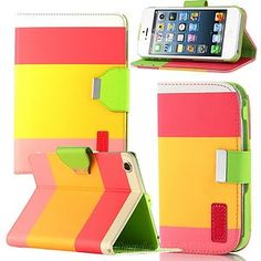 Hybrid PU Leather Wallet Pouch Stand Case For Apple iPad Mini iphone 4/5 S3 S4
