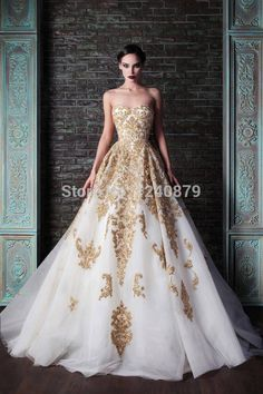 Find More Wedding Dresses Information about New Arrival white and gold wedding dress/dresses 2016 Luxurious Rami Kadi Bridal Gown Beaded gold embroidery wedding gown Zw 056,High Quality dress inflation,China dress stencils Suppliers, Cheap dress pleated from Couture Wedding on Aliexpress.com