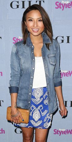 Jeannie Mai Photos - Actress Jeannie Mai attends the People StyleWatch Denim Awards by GILT at the Palihouse on September 2013 in West Hollywood, California. - Arrivals at the People StyleWatch Denim Awards Plaid Outfits, Denim Outfit, Cute Casual Outfits, Quirky Fashion, Asian Fashion, Jeannie Mai, White Crop Top Tank, Fashion Network, School Fashion