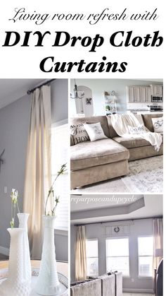 Living room refresh with DIY drop cloth curtains #InspirationSpotlight
