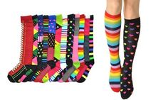 Mix and match these fun, colorful knee socks to lend any outfit a cute and colorful pop