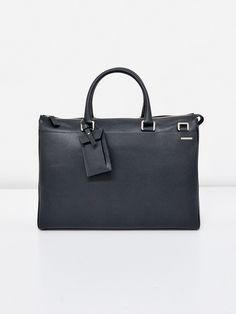 BOSTON - Two handle briefcase in printed calf leather. Detachable shoulder strap, address holder, front/back. Flat pockets, inner laptop pocket and business organizers