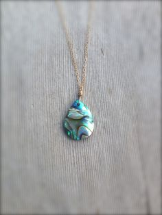 Abalone Necklace with Dainty 14k Gold Filled Chain / handmade minimalist shell jewelry by MuffyandTrudy on Etsy