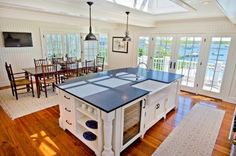 Kitchen with sky lights to add light