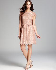 Aidan Mattox Metallic Lace Dress - Cap Sleeve | Bloomingdale's