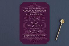 """""""Deco Nouveau"""" - Wedding Invitations in Cream by GeekInk Design."""