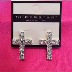 New Silver Cross with Diamond like stone Earrings New Beautiful Fashion Silver Cross with Diamond like stone earrings. fashion Jewelry Earrings