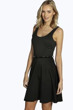 Tall Steph Belted Skater Dress at boohoo.com 939786c8a