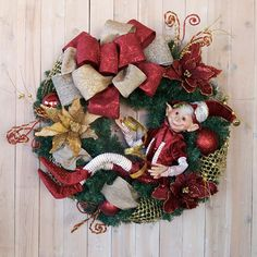Christmas wreath holiday wreath Elf Wreath by SignsStuffnThings on Etsy