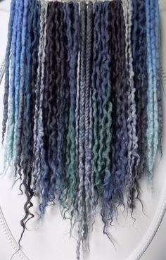 "42DE ""Sea Witch"" Wool Dreads 16""-26"" (Total Length = 32""-52"") Curly Dreadlocks Gray Lilac Aqua Mermaid Ombre Hair"