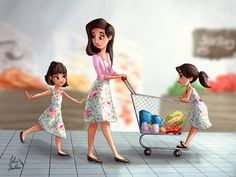 Shopping Trip I saw a Mother and her two little girls wearing matching dresses in the shops yesterday and it was so sweet! Girl Hair Drawing, Cute Girl Drawing, Girly Drawings, Disney Drawings, Disney Hairstyles, Character Inspiration, Character Art, Writing Inspiration, Alone Art