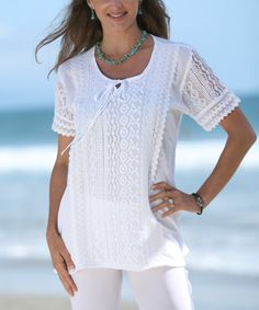 Look what I found on #zulily! White Scoop Neck Top - Women by Ananda's Collection #zulilyfinds