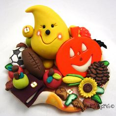 Fall Favorites PARKER Polymer Clay Character  by KatersAcres, $60.00