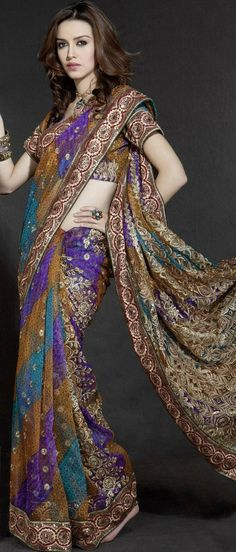 Multicolour Net #Saree with Blouse @ $51.28