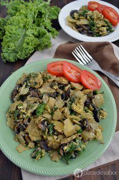 Miguitas con espinaca o kale - berza y champiñones (huevo con tortilla) | www.pizcadesabor.com