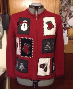 Vintage 80's 90's Ugly Christmas Sweater Ladies PM Snowmen Stockings | eBay
