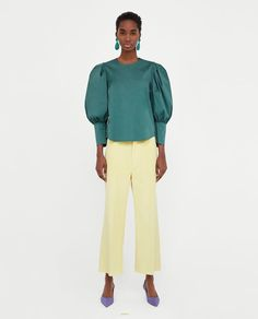 ZARA - WOMAN - TOP WITH PLEATED PUFF SLEEVES