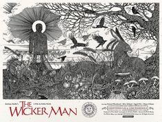 Poster for the 1973 original 'The wicker man.' Directed by Robin hardy and staring Christopher Lee. Black and red on… Best Movie Posters, Horror Movie Posters, Cinema Posters, Horror Movies, Film Posters, Horror Film, Horror Art, British Lions, Wicker Man