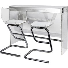 1STDIBS.COM - Pariscope Design - Gorgeous Lucite Bar With Two Stools ❤ liked on Polyvore featuring home, furniture, lucite furniture and plexiglass furniture